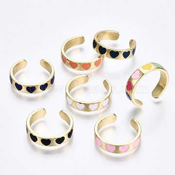 Brass Enamel Cuff Rings, Open Rings, Cadmium Free & Nickel Free & Lead Free, Heart, Real 16K Gold Plated, Mixed Color, US Size 6 3/4(17.1mm)(RJEW-S045-076-NR)