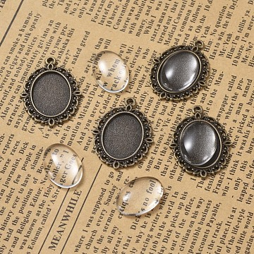 DIY Pendant Making, with Alloy Pendant Cabochon Settings and Transparent Oval Glass Cabochon, Antique Bronze, Cabochon Setting: 29.5x22, Glass: 18x13x4~5mm(DIY-X0293-20AB)