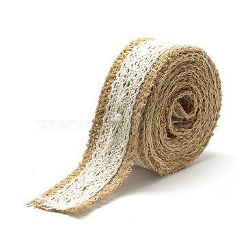 Burlap Ribbon, Hessian Ribbon, Jute Ribbon, with Cotton Lace, for Jewelry Making, Tan, 1-1/8 inches(27~28mm); about 2.187yards/roll(2m/roll), 24rolls/bag(OCOR-R071-04)