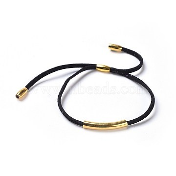 Adjustable Faux Suede Cord Bracelets, with Brass Rice Beads and 304 Stainless Steel Tube Beads, Golden, Black, 5-1/2 inches(14cm)~5-3/4 inches(14.5cm), 3mm(X-BJEW-JB04216-03)