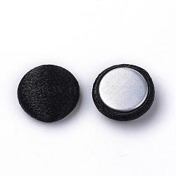 Cabochons couverts de tissu de polyester manuel, avec fond en aluminium, plat rond, noir, 12.5x5mm(WOVE-S101-15A)