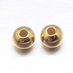 véritables perles d'espacement en argent sterling plaqué or 18 k, 3 mm, trou: 1.2 mm; environ 333 pcs / 20 g(STER-M103-04-3mm-G)