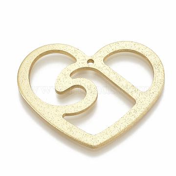 Aluminium Big Pendants, Laser Cut Big Pendants, Heart, Gold, 43.5x55x2.5mm, Hole: 2mm(ALUM-N001-02)