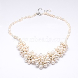 Flower Pearl Bib Statement Necklaces, with Brass Lobster Claw Clasps, PapayaWhip, 18.1inches(NJEW-N0014-33)