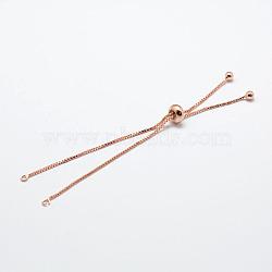 """Bricolage de bracelet avec chaîne en laiton environnementale plaqué de rack, Plaqué longue durée, fabrication de bracelets coulissants, sans cadmium et sans plomb, Véritable plaqué or rose, 8-5/8"""" (22cm); 1x1mm, Trou: 2mm(X-KK-A142-018RG)"""