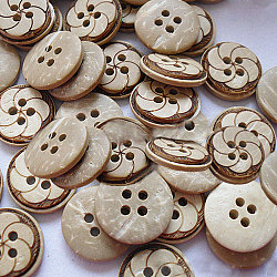 Carved Round 4-hole Sewing Button, Coconut Button, Khaki, 11mm in diameter(NNA0YXX)