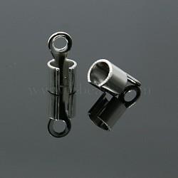Laiton argenté pliage embouts à écraser, 10x5x3mm, Trou: 2mm(X-KK-E182-S)