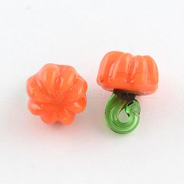 Thanksgiving Charms Lampwork Beads, for Halloween, Pumpkin, Orange, 15x11mm, Hole: 4mm(X-LAMP-Q010-1)