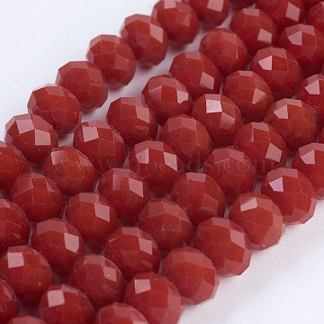 Opaque Glass Beads Strands, Faceted, Rondelle, Red, 8x6mm, Hole: 1~1.5mm; about 70~72pcs/strand, 16.9~17.3inches(43~44cm)(X-EGLA-F122-8x6mm-NC05)