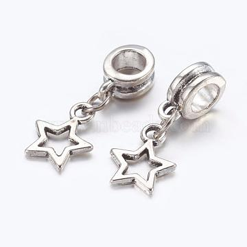 Alloy European Dangle Beads, Star, Antique Silver, 23mm, Hole: 5mm(X-PALLOY-JF00001-22)