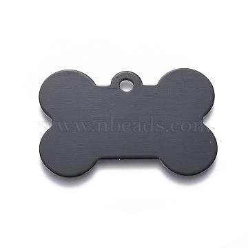 Pendentifs d'animal de compagnie en aluminium, estampillage d'une étiquette vierge, os, noir, 25x38x1mm, Trou: 3mm(ALUM-I002-06E)
