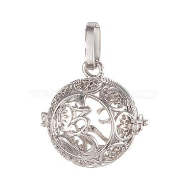 Brass Cage Pendants, For Chime Ball Pendant Necklaces Making, Cadmium Free & Nickel Free & Lead Free, Hollow Round with Lotus, Platinum, 26x26x21mm, Hole: 4x9mm; Inner Diameter: 18mm(KK-K163-A04-P-NR)
