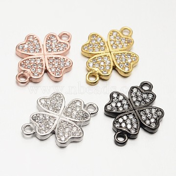 Clover 925 Sterling Silver Micro Pave Cubic Zirconia Links, Mixed Color, 12.5x18x2mm, Hole: 1mm(STER-F011-016)