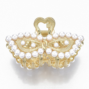 Alloy Claw Hair Clips, with ABS Plastic Imitation Pearl, Long-Lasting Plated, Masquerade with Heart, Light Gold, White, 31x50x26mm(PHAR-N004-019)