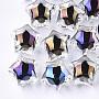 Transparent Acrylic Beads, UV Plating & Rainbow, Bead in Bead, Half Drilled Beads, Star, Colorful, 16x17x14.5mm, Half Hole: 3mm
