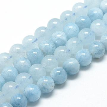 Natural Aquamarine Beads Strands, Grade A, Round, 6~7mm, Hole: 1mm; about 60~67pcs/strand, 15.7inches(G-R446-6mm-05)