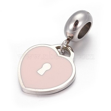 25mm Pink Lock Stainless Steel Dangle Beads