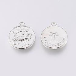 pendants en alliage de style tibétain, plat rond, Aries, platine, 20x17x2.5 mm, trou: 2 mm(PALLOY-XCP00013-01P)