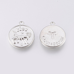 тибетские сплава типа, плоские круглые, Овен, платина, 20x17x2.5 mm, отверстия: 2 mm(PALLOY-XCP00013-01P)