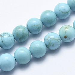 Природные бирюзовый нитей бисера, окрашенный, вокруг, голубой, 8 mm, отверстия: 1 mm; о 48 шт / прядь, 15.7 (40 см)