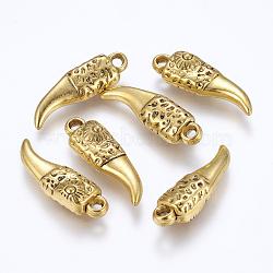 Пластмассовые подвески ccb, бивень, античное золото , 33x10x7 мм, отверстие : 2.5 мм(CCB-K004-24AG)