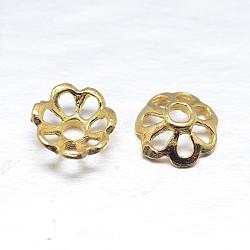 chapeaux de perles en argent massif plaqué or à multiples pétales, fleur, or, 6x2.5 mm, trou: 1 mm; environ 200 pcs / 20 g(STER-M100-02)