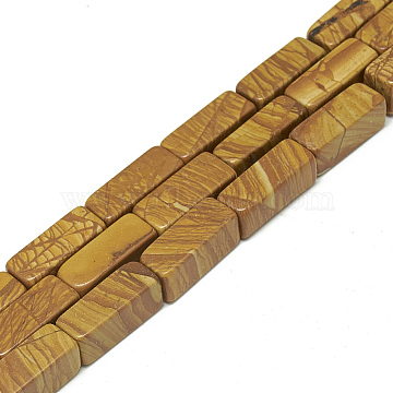 Natural Wood Lace Stone Beads Strands, Cuboid, 20~21x8~8.5x8~8.5mm, Hole: 1mm, about 19pcs/strand, 15.5 inches(X-G-S300-54-8x20mm)