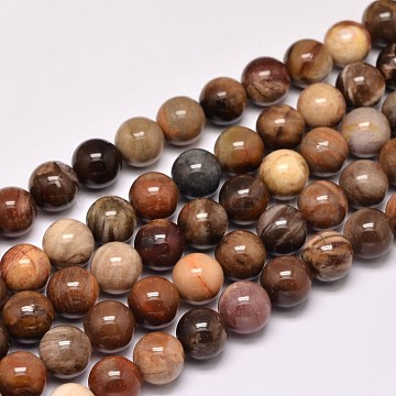 Natural Petrified Wood Round Bead Strands, 8mm, Hole: 1mm; about 47pcs/strand, 15 inches(G-F266-08-8mm)