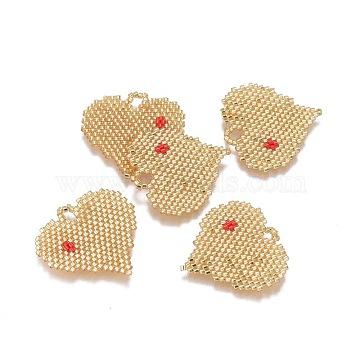 30mm Goldenrod Heart Glass Pendants