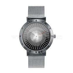 Стильный высокого качества из нержавеющей стали 304 кварцевые наручные часы, металлический черный , 240x20 мм; голова часов : 47x44x8 мм; лицо часов : 34 мм(WACH-N052-08B)