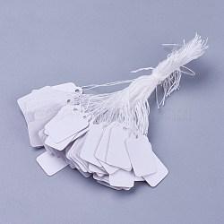 Etiquettes de prix de bijoux, rectangle, blanc, 23x13mm(TOOL-C003-02)