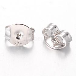 Écrous d'oreille en argent sterling, platine, 4.5x5.5x3mm, Trou: 0.5mm(STER-I005-61P)