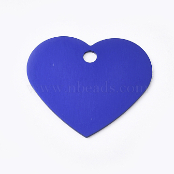 Aluminum Pendants, Blank Tags, Heart, Royal Blue, 33x37.5x1mm, Hole: 3.5mm(ALUM-WH0009-03C)