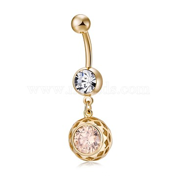 Environmental Brass Cubic Zirconia Navel Ring, Belly Rings, with Use Stainless Steel Findings, Real 18K Gold Plated, Flat Round, Bisque, 39mm, Pin: 1.5mm(AJEW-EE0004-40C-G)