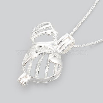 925 Sterling Silver Cage Pendant Necklaces, Carved 925, Snowman, Silver, 16 inches(40.5cm); Inner Measure: 9x8.5mm(NJEW-S415-07)