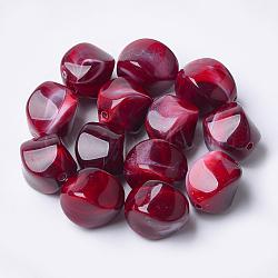 Perles acryliques, style de pierres fines imitation, nuggets, DarkRed, 15.5x12x12mm, Trou: 1.8mm(X-OACR-T007-08E)