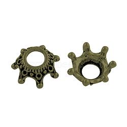 Tibétain perle en alliage caps supports de strass, Sans cadmium & sans nickel & sans plomb, couronne, bronze antique, 12.5x12.5x5.5mm, trou: 4.5 mm; apte à 0.5 mm strass(X-TIBEB-A35809-AB-NR)