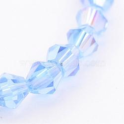 Glass Beads Strands, Bicone, LightBlue, AB Color Plated, The beads about 4mm, Hole: 1mm; about 70pcs/strand, 10.63inches(X-GB4mm22Y-AB)
