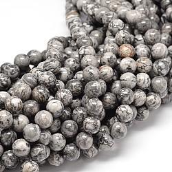 """Jaspe naturel en feuille d'argent de Chine / perles en pierre de carte, rond, 4mm, trou: 1mm; environ 90 pcs/chapelet, 15.7""""(G-P075-15-4mm)"""