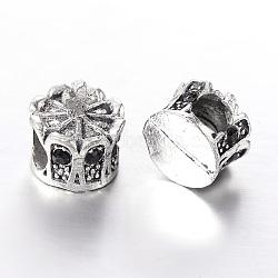 Perles européennes en alliage plaqué argent antique avec strass, grosses perles de la couronne de trous, jet, 13x12mm, Trou: 5mm(CPDL-J030-02AS)