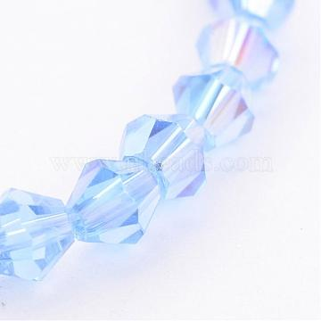 4mm SkyBlue Bicone Electroplate Glass Beads