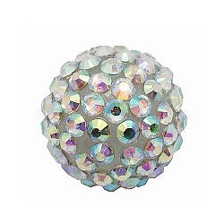 Коренастый смолы горный хрусталь жевательная резинка мяч бусины, для баскетбола обруча серьги жены, AB цвет, круглые, ясно AB, Размер : диаметром около 20 мм , отверстие : 2.5 мм(X-RESI-A001-1)