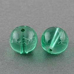 Drawbench Transparent Glass Round Beads Strands, Spray Painted, MediumSpringGreen, 8mm; Hole: 1.3~1.6mm; about 100pcs/strand, 31.4inches(X-GLAD-Q012-8mm-11)