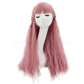 Long Fluffy Curly Wavy Hair Wigs, High Temperature Heat Resistant Fiber Wigs, Synthetic Cosplay Party Wigs for Women, Pink, 650mm(OHAR-G008-07)