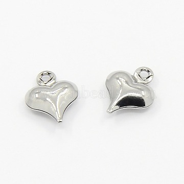 Valentine Gifts Ideas for Him 304 Stainless Steel Puffed Heart Charms Pendants, Stainless Steel Color, 10x8x3mm, Hole: 1mm(X-STAS-M004-03)