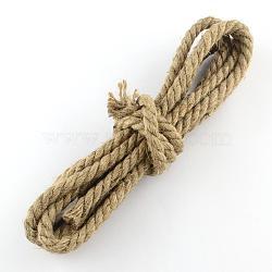 Corde de chanvre, chaîne de chanvre, ficelle de chanvre, pour la fabrication de bijoux, chameau, 8~9 mm; 3 m / bundle(OCOR-Q009-01)