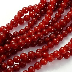Carnelian Beads Strands, Carnelian, Dyed, Round, FireBrick, 10mm, Hole: 1.2mm; about 39pcs/strand, 15~16inches