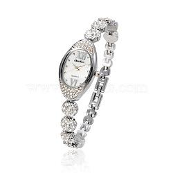 Нержавеющая сталь высокого качества горный хрусталь наручные часы, кварцевые часы, цвет нержавеющей стали, 210x10 мм; головка часы: 23x38x9 мм(WACH-A004-01P)
