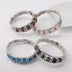 Argent antique style tibétain bracelets en alliage de pierres précieuses, pierre mixte, 51mm(BJEW-JB01649)