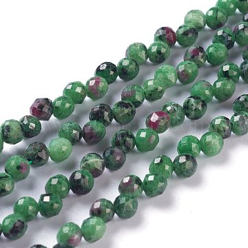 Natural Ruby Zoisite  Beads Strands, Top Drilled, Faceted, Teardrop, 4~5mm, Hole: 0.9mm, about 90pcs/strand, 16.54 inches(42cm)(G-H243-16)